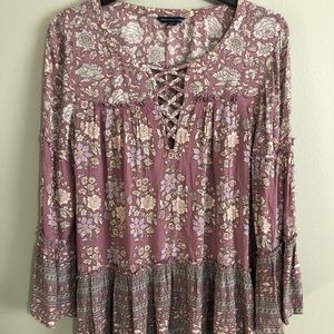 Med. American Eagle Purple Boho Blouse